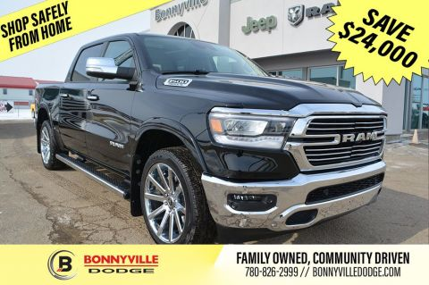 2019 Ram 1500 LARAMIE- EXECUTIVE DEALERSHIP DRIVEN, UNDER 4,000 KMS, INCL. DUB WHEELS, 3M PROTECTION, STEPS